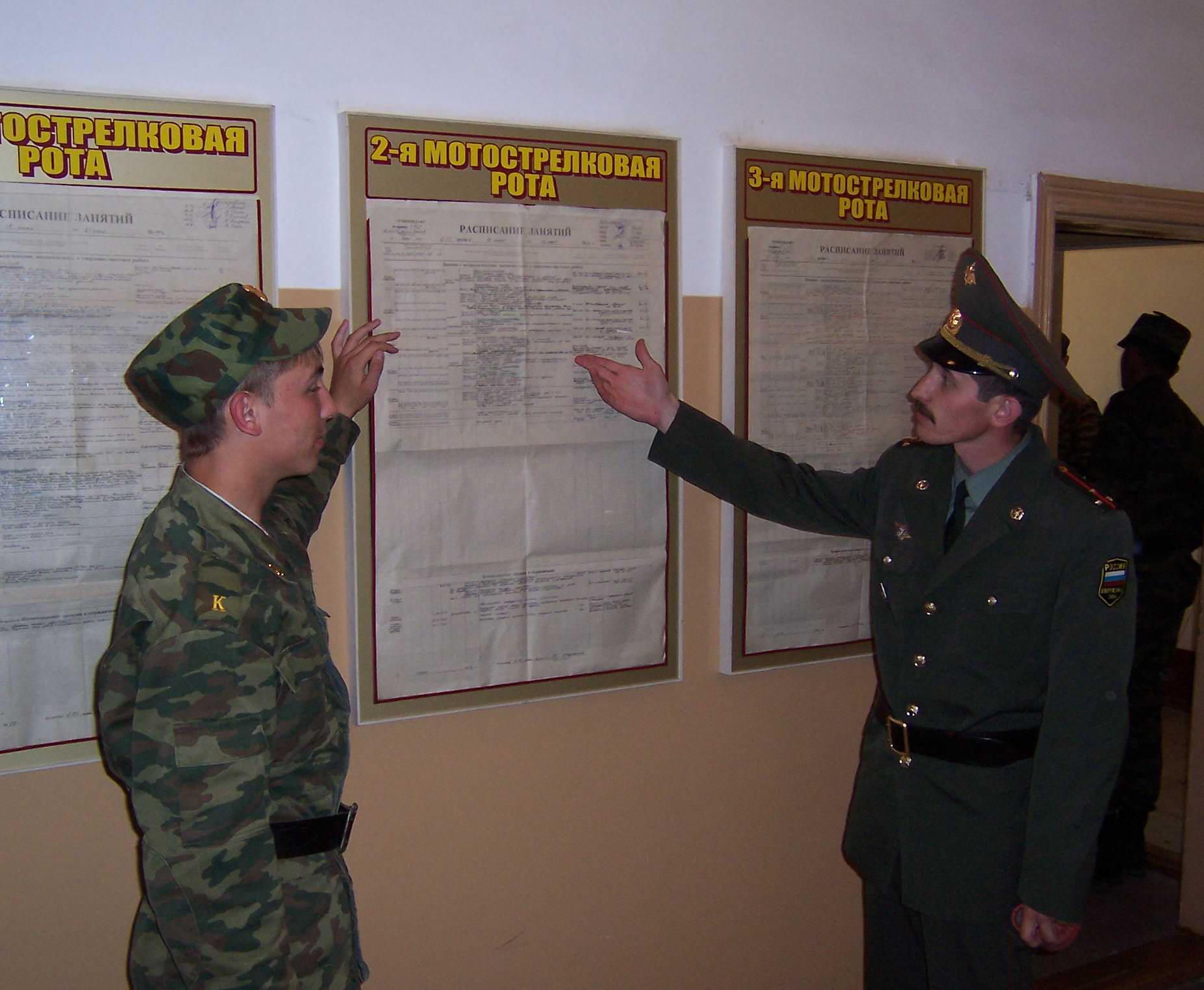 меню в армии