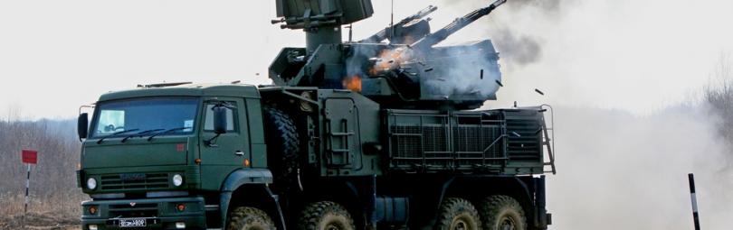 Система ПВО ведет огонь