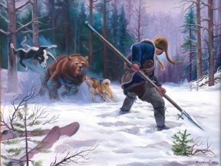 Охота на медведя с рогатиной