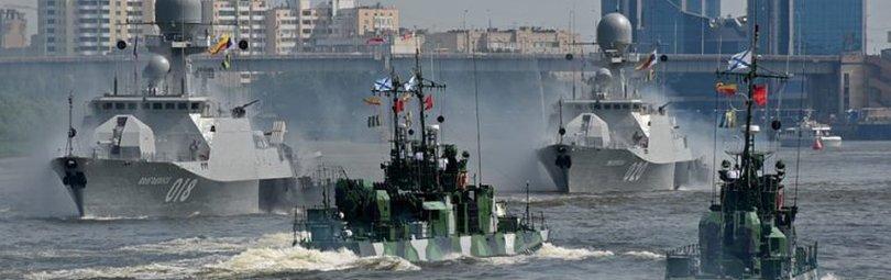 Каспийская флотилия в море