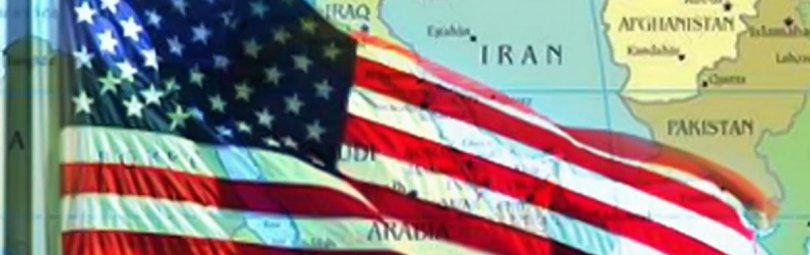 Флаг США над картой Ближнего Востока
